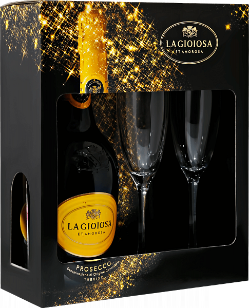 La Gioiosa Prosecco DOC in gift box with two glasses, 0.75л