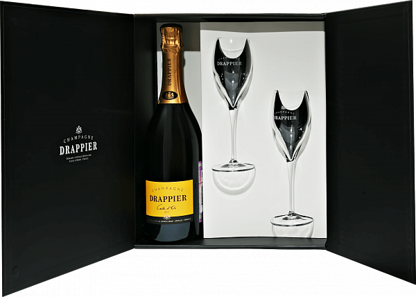 Drappier Carte d'Or Brut Champagne AOP in gift box with two glasses,  0.75л